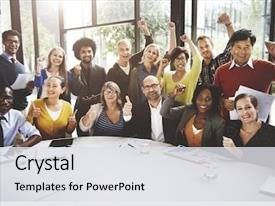 Audience pleasing slide deck consisting of business team success achievement arm backdrop and a light gray colored foreground