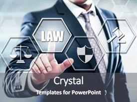 PPT theme featuring business technology internet concept on hexagons and transparent honeycomb background businessman pressing button on touch screen interface and select law background and a dark gray colored foreground.