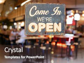 5000 restaurant powerpoint templates w restaurant themed backgrounds presentation theme with business vintage sign that says come in we re open on cafe toneelgroepblik Gallery