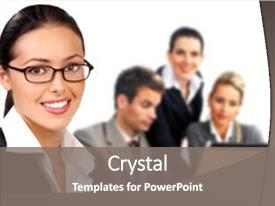 Amazing slide set having business woman and business people backdrop and a gray colored foreground.