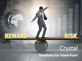 Theme with businessman balancing between reward and risk business concept background and a gray colored foreground.