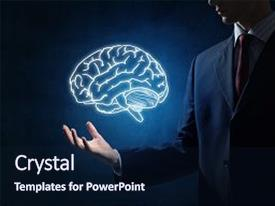 Audience pleasing slide deck consisting of businessman hand holding brain backdrop and a navy blue colored foreground