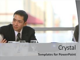 Colorful PPT theme enhanced with businessman in board room meeting backdrop and a light gray colored foreground.