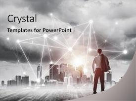 Presentation with back and looking at network background and a light gray colored foreground