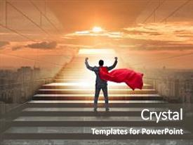 Presentation theme enhanced with businessman superhero successful in career ladder concept background and a dark gray colored foreground.