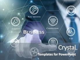 Presentation with businessman touching the business icon with business success tools on internet network concept backgroundelements of this image furnished business technology concept background and a  colored foreground.