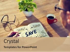 PPT theme enhanced with businessman with energy and environmental background and a coral colored foreground