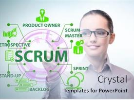 Amazing presentation having businesswoman-in-scrum-agile-method backdrop and a light blue colored foreground