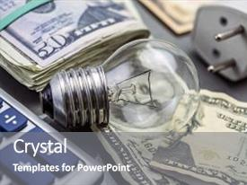 Colorful PPT layouts enhanced with calculator and money next to a light bulb the concept of energy saving backdrop and a gray colored foreground.