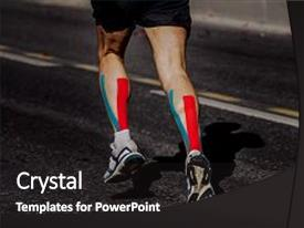 PPT layouts enhanced with kinesio tape - calf male athlete running marathon background and a dark gray colored foreground.