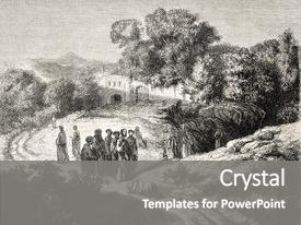 Presentation theme consisting of canaan - old representation of jesus christ background and a gray colored foreground