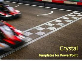 Presentation enhanced with car - kart crossing the finish line background and a tawny brown colored foreground