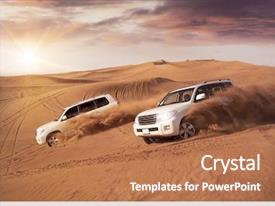 Presentation theme with car - two 4x4 vehicles bashing side background and a coral colored foreground