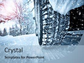 Beautiful theme featuring car tires on winter road backdrop and a  colored foreground.