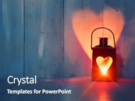 PPT theme enhanced with card with candle and heart background and a  colored foreground.