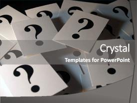 PPT theme consisting of cards with question mark background and a gray colored foreground.