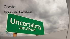 Presentation theme featuring career choices - uncertainty just ahead green road background and a light gray colored foreground