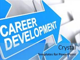 Audience pleasing slide deck consisting of work experience - career development - blue arrow backdrop and a light blue colored foreground.