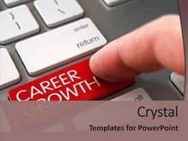 Presentation design consisting of career growth key computer background and a coral colored foreground.