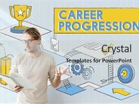 Slide set having career progression promotion achievement success background and a light gray colored foreground