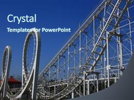 Powerpoint template roller coaster with people upside down 25425 ppt theme featuring carnival roller coaster amusement park background and a ocean colored foreground custom template design 30000 toneelgroepblik Image collections