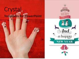 Presentation theme featuring caroling - christmas caroler fingers against white background and a red colored foreground
