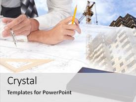 Slide deck featuring carried out by construction plan background and a light gray colored foreground.