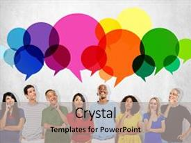 Colorful PPT theme enhanced with casual people message talking communication concept backdrop and a light gray colored foreground