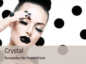 PPT theme consisting of mouth - caviar black manicure nail art background and a light gray colored foreground