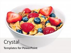 Cool new presentation theme with cereals and fresh fruit backdrop and a light gray colored foreground.