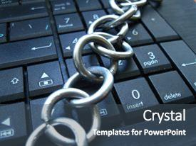 Theme consisting of chain on computer keyboard it background and a ocean colored foreground.