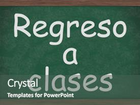 PPT layouts enhanced with green - chalkboard words regreso a clases background and a ocean colored foreground