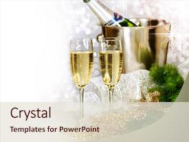 beautiful ppt layouts featuring champagne new year celebration backdrop and a lemonade colored foreground