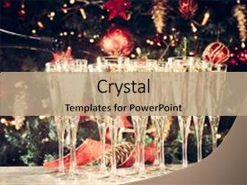 Cool new slide deck with champagne with christmas tree background backdrop and a coral colored foreground.