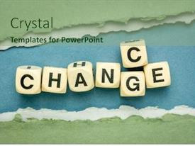 PPT theme consisting of change-and-chance-word-abstract background and a seafoam green colored foreground