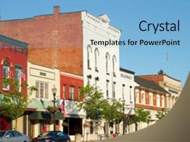 PPT theme consisting of charming old-fashioned main street background and a light blue colored foreground.