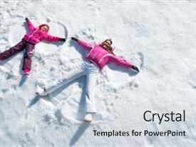Presentation design having cheerful mother and daughter enjoying in snow while looking at camera happy woman with little child lying on snow making angel with arms and legs woman and smiling cute girl enjoying with copy space background and a sky blue colored foreground.