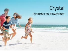 Presentation design consisting of cheerful young family running background and a light blue colored foreground