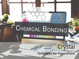 Beautiful PPT theme featuring chemical bonding experiment research science backdrop and a light gray colored foreground