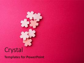 Presentation theme having zen - cherry blossom background image cherry background and a red colored foreground.