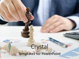 Colorful theme enhanced with chess financial business strategy concept team leader holding chess piece backdrop and a light gray colored foreground.