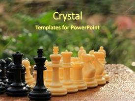 Presentation design consisting of brain - chess is a game background and a tawny brown colored foreground.