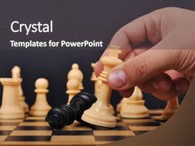 Colorful slide deck enhanced with chess king makes a checkmate backdrop and a dark gray colored foreground