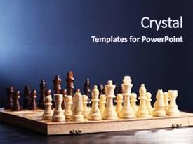 PPT theme having chess pieces and game board on blue background background and a navy blue colored foreground