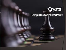 Presentation theme consisting of chess pieces showing the competition in business and game background and a dark gray colored foreground.