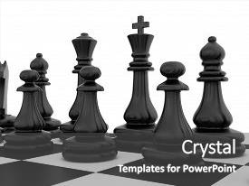 Amazing PPT theme having chess pieces standing on black white chessboard backdrop and a dark gray colored foreground