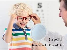 Beautiful presentation featuring child at eye sight test backdrop and a light gray colored foreground.