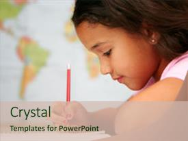 PPT layouts consisting of child at school writing background and a soft green colored foreground.
