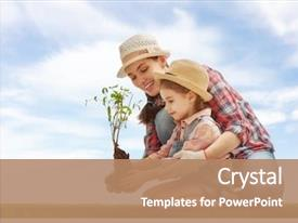 PPT theme enhanced with child girl plant sapling tree background and a coral colored foreground