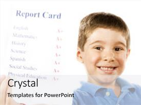 Colorful presentation design enhanced with child holding report card backdrop and a white colored foreground.